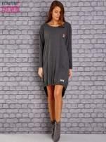 Ciemnoszara asymetryczna sukienka z naszywką i troczkami                                  zdj.                                  2