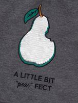 Ciemnoszara bluza dresowa dla dziewczynki z cekinami                                  zdj.                                  3