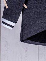 Ciemnoszara bluza dziewczęca V-neck ze ściągaczami                                  zdj.                                  7