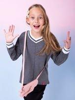 Ciemnoszara bluza dziewczęca V-neck ze ściągaczami                                  zdj.                                  3
