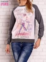 Ciemnoszara bluza z nadrukiem dziewczyny i napisem