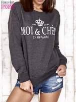 Ciemnoszara bluza z napisem MOI & CHÉRI                                  zdj.                                  1