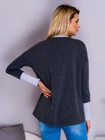 Ciemnoszara bluza z wiązaniem i szerokim ściągaczem                                  zdj.                                  2