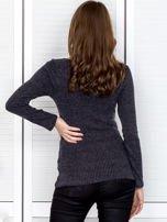 Ciemnoszara bluzka damska ze sznurowanym dekoltem                                   zdj.                                  2