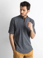 Ciemnoszara koszula męska regular fit ze stójką                                   zdj.                                  1