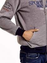 Ciemnoszara ocieplana bluza męska z kapturem i napisem SPORT CLUB