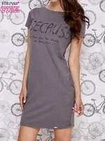 Ciemnoszara sukienka dresowa z napisem BECAUSE                                  zdj.                                  3