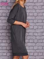 Ciemnoszara sukienka oversize ze ściągaczem                                  zdj.                                  3