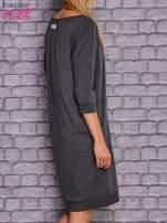 Ciemnoszara sukienka oversize ze ściągaczem                                  zdj.                                  4
