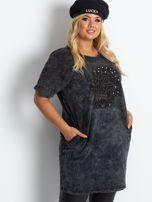 Ciemnoszara sukienka plus size Brillance                                  zdj.                                  1