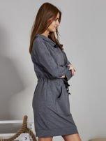 Ciemnoszara sukienka z wstążkami                                   zdj.                                  5