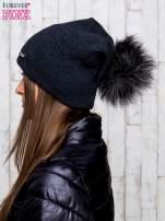 Ciemnoszara wełniana czapka z futrzanym pomponem                                                                           zdj.                                                                         2