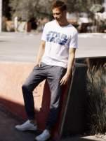 Ciemnoszare melanżowe spodnie męskie z trokami i kieszeniami                                  zdj.                                  8