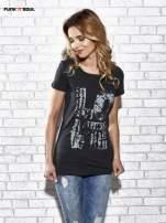 Ciemnoszary t-shirt z napisem LOVE Funk n Soul