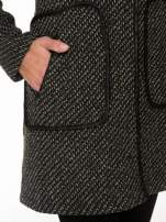 Ciemnoszary wełniany długi żakiet o pudełkowym kroju ze skórzaną lamówką                                  zdj.                                  6