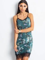 Ciemnoturkusowa aksamitna sukienka w kwiaty                                  zdj.                                  1