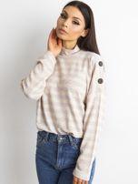 Cienki sweter w paski z półgolfem różowy                                  zdj.                                  1
