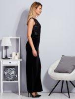 Czarna aksamitna sukienka z cekinowymi kwiatami                                  zdj.                                  5