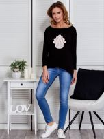 Czarna asymetryczna bluzka z babeczką                                  zdj.                                  4