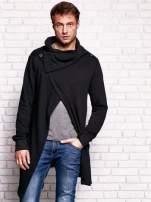 Czarna bluza męska z kaskadowym dekoltem                                  zdj.                                  1