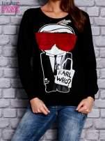 Czarna bluza z komiksowym nadrukiem                                  zdj.                                  1