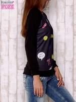 Czarna bluza z komiksowymi motywami                                                                          zdj.                                                                         3