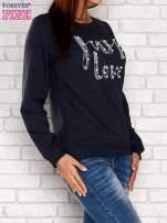 Czarna bluza z napisem JUST LOVE i perełkami