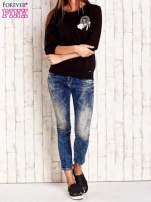 Czarna bluza z naszywkami i ściągaczami                                  zdj.                                  4