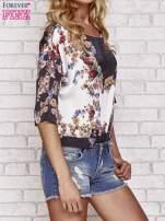 Czarna bluzka koszulowa w kwiaty                                                                          zdj.                                                                         3