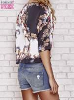 Czarna bluzka koszulowa w kwiaty                                  zdj.                                  5