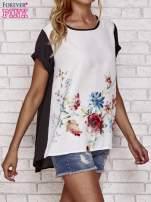 Czarna bluzka koszulowa z nadrukiem kwiatów                                  zdj.                                  3
