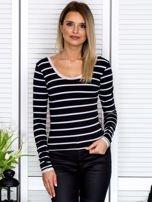 Czarna bluzka w paski z koronkowym wykończeniem                                  zdj.                                  1