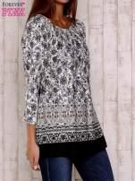 Czarna bluzka z ornamentowym wzorem                                  zdj.                                  3