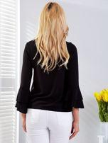 Czarna bluzka z rozszerzanymi rękawami                                  zdj.                                  2