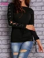 Czarna bluzka z wiązaniem na rękawach                                  zdj.                                  1