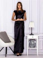 Czarna długa sukienka z falbaną                                  zdj.                                  1