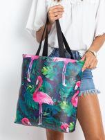 Czarna duża torba z flamingiem                                  zdj.                                  1