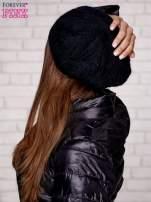 Czarna dzianinowa czapka z angory                                  zdj.                                  2