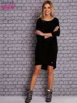 Czarna gładka sukienka oversize                                  zdj.                                  2
