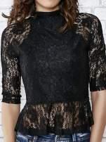 Czarna koronkowa bluzka z baskinką