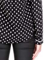 Czarna koszula w kropki z dekoltem z suwakiem                                  zdj.                                  6