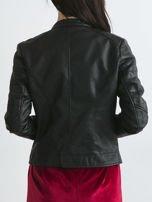 Czarna kurtka damska biker w motocyklowym stylu                                   zdj.                                  2