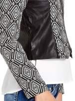 Czarna kurtka w geometryczne wzory ze skórzanymi wstawkami                                                                          zdj.                                                                         6