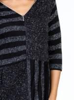 Czarna melanżowa sukienka z motywem pasków                                                                          zdj.                                                                         5