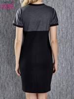 Czarna melanżowa sukienka ze złotymi guzikami                                                                          zdj.                                                                         5