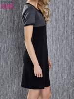 Czarna melanżowa sukienka ze złotymi guzikami                                                                          zdj.                                                                         4