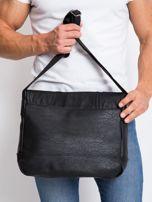 Czarna męska torba na ramię z ekoskóry                                  zdj.                                  4