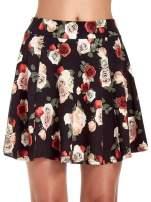 Czarna mini spódnica skater w kwiaty                                  zdj.                                  5