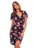 Czarna mini sukienka V-neck z nadrukiem kwiatów                                  zdj.                                  5