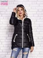 Czarna pikowana kurtka z kontrastowymi suwakami                                  zdj.                                  5